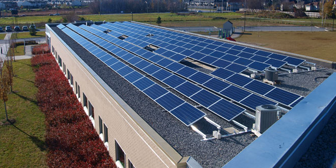 Solar panels on the Maurice-Lapointe schoold in Kanata