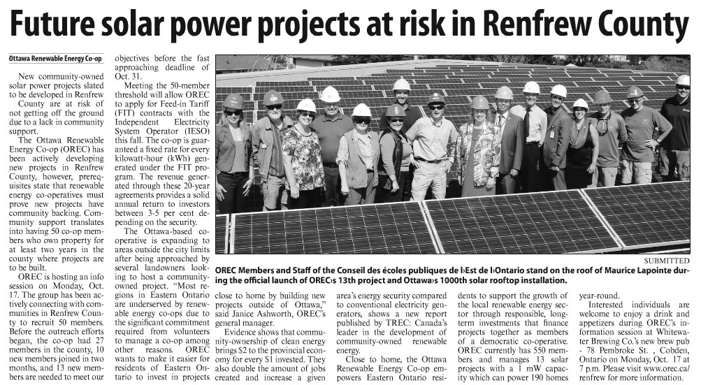 OREC article in the Arnprior Chronicle-Guide