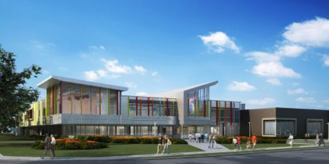 Rendition of the Mer Bleu High School in Orleans